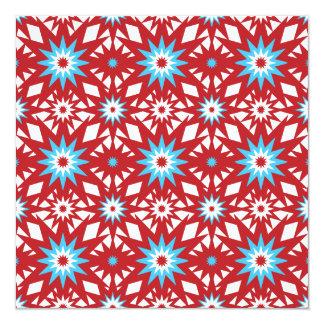 """Rojo y diseño de Starburst del modelo de estrella Invitación 5.25"""" X 5.25"""""""