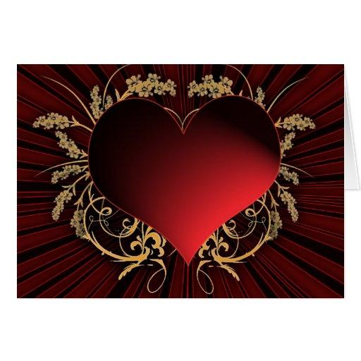 Rojo y diseño del corazón del oro tarjetas