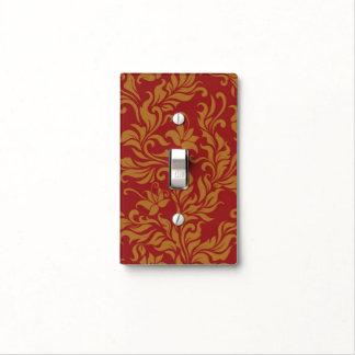 Rojo y estampado de flores del oro tapa para interruptor