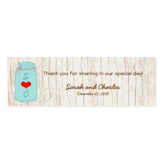 Rojo y etiquetas del favor del boda del tarro de a tarjeta de visita