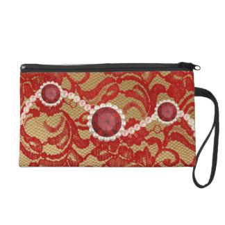 Rojo y falsas perlas florales del rubí del cordón