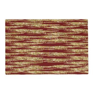 Rojo y falsas rayas del brillo del oro tapete individual