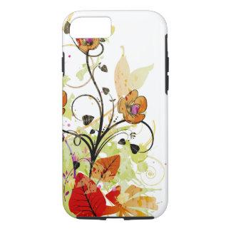 Rojo y fantasía floral del oro funda iPhone 7