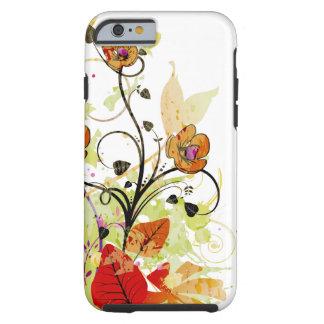 Rojo y fantasía floral del oro funda resistente iPhone 6
