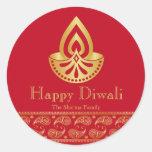 Rojo y favor de fiesta de Diwali del oro Pegatina Redonda