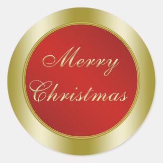 Rojo y Felices Navidad del oro Pegatina Redonda