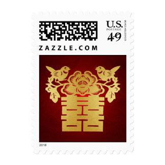 Rojo y felicidad doble china de los pájaros del sellos