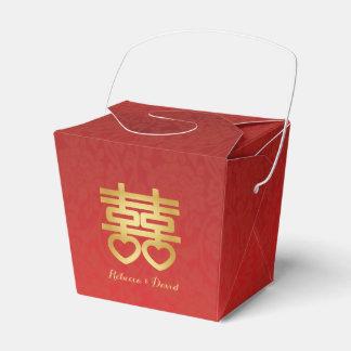 Rojo y felicidad doble china del oro caja para regalo de boda