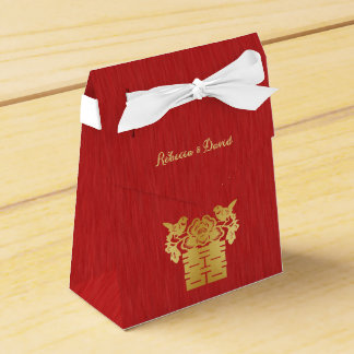 Rojo y felicidad doble de los pájaros chinos del caja para regalo de boda