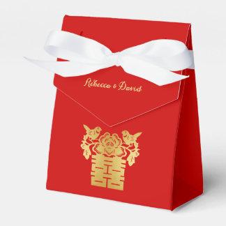 Rojo y felicidad doble de los pájaros chinos del caja para regalos de fiestas