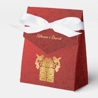 Rojo y felicidad doble de los pájaros chinos del cajas para detalles de boda
