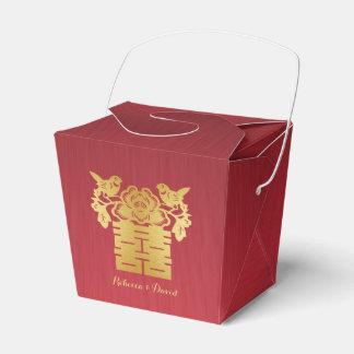 Rojo y felicidad doble de los pájaros chinos del cajas para regalos