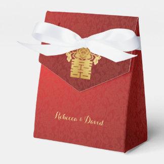 Rojo y felicidad doble de los pájaros chinos del cajas para regalos de boda