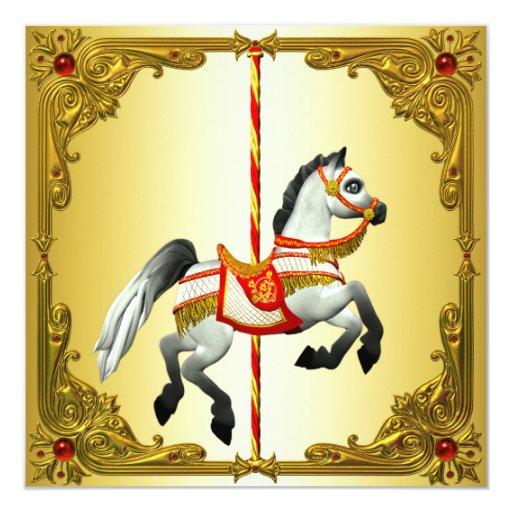 """Rojo y fiesta de cumpleaños del caballo del invitación 5.25"""" x 5.25"""""""