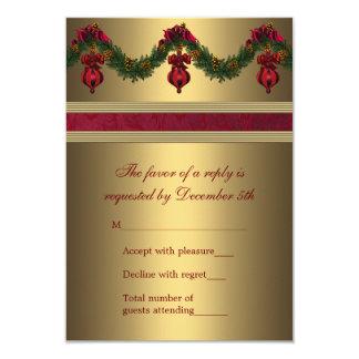 Rojo y fiesta de Navidad RSVP del oro Invitación 8,9 X 12,7 Cm