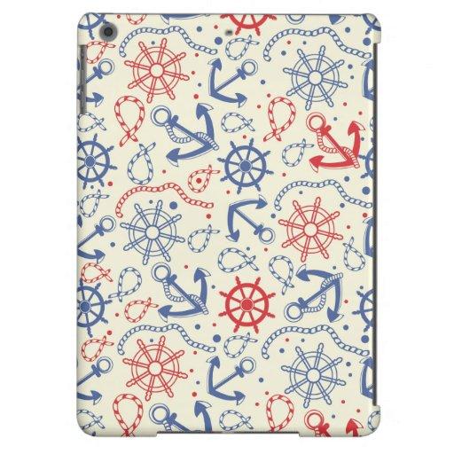 Rojo y fondo azul marino con el ancla funda para iPad air