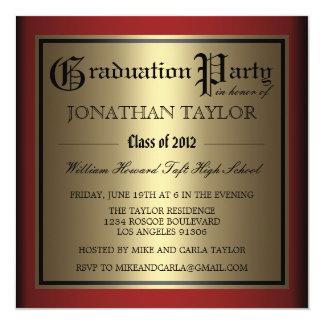 """Rojo y graduación del oro invitación 5.25"""" x 5.25"""""""