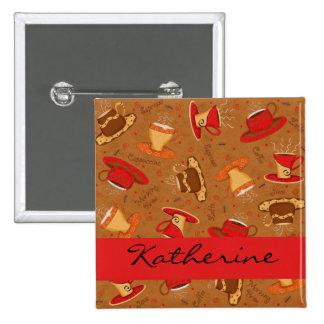 Rojo y insignia conocida del modelo de las tazas pin cuadrado