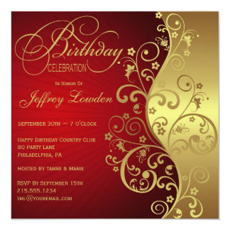 Rojo y invitación de la fiesta de cumpleaños del