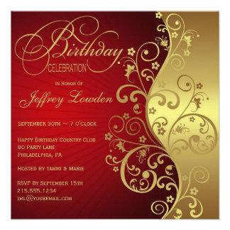 Rojo y invitación de la fiesta de cumpleaños del o
