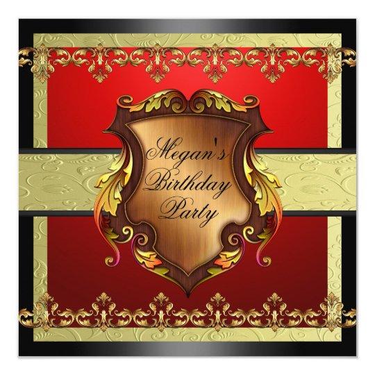 Rojo y invitación del cumpleaños del escudo del
