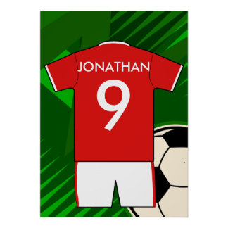 Rojo y jersey de fútbol personalizado blanco impresiones