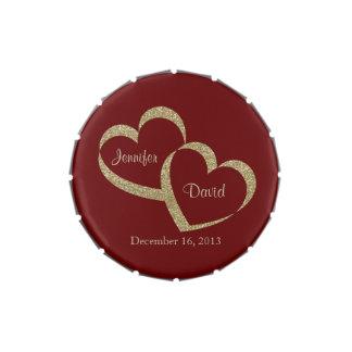 Rojo y lata de encargo del caramelo del boda de frascos de dulces