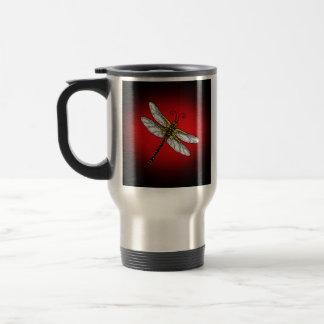 Rojo y libélula del oro taza de viaje de acero inoxidable
