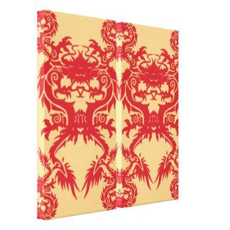 Rojo y lona envuelta diseño oriental del oro impresión en lienzo estirada
