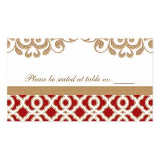 Rojo y lugar marroquí de la tabla del boda del oro tarjetas de visita