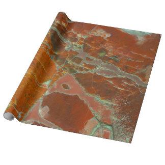 Rojo y madera de Pertrified del oro Papel De Regalo