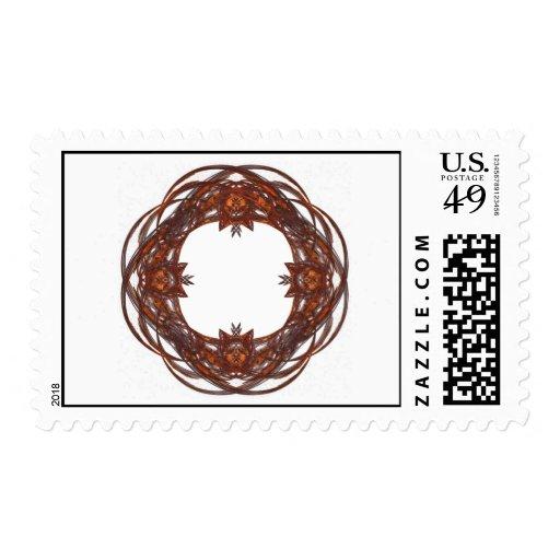 Rojo y marco adornado de la guirnalda de Brown Sello