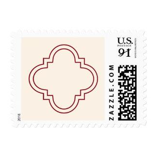 Rojo y marfil de Quatrefoil Sello Postal