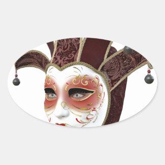 Rojo y máscara veneciana de Carnivale del oro Pegatina Ovalada
