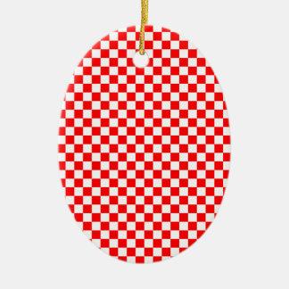 Rojo y modelo comprobado blanco adorno ovalado de cerámica
