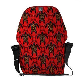 Rojo y modelo de la tortuga del Mar Negro Bolsa De Mensajería