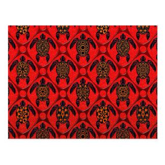 Rojo y modelo de la tortuga del Mar Negro Tarjetas Postales
