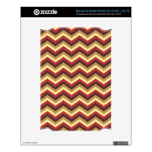 Rojo y modelo de zigzag de Brown NOOK Calcomanías