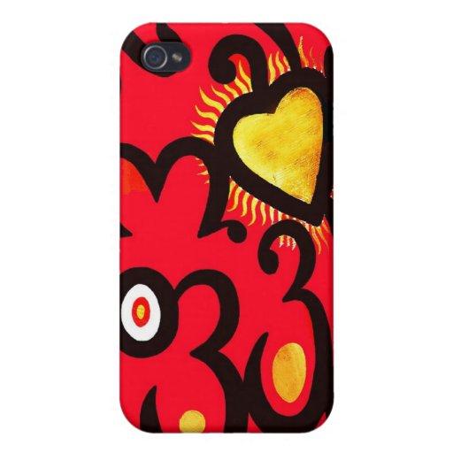 Rojo y modelo del corazón del oro (b) iPhone 4 cárcasas