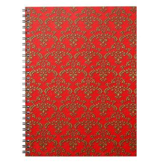 Rojo y modelo del damasco del oro libro de apuntes con espiral