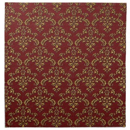 Rojo y modelo del damasco del oro servilletas imprimidas