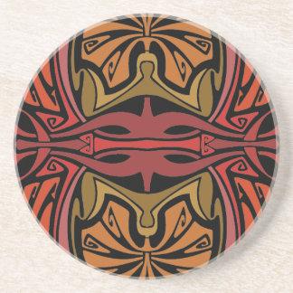 Rojo y modelo del vintage del nouveau del arte del posavasos diseño