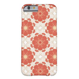 Rojo y modelo floral del cordón del oro funda para iPhone 6 barely there
