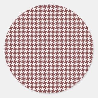 Rojo y modelo texturizado blanco de Houndstooth Pegatinas