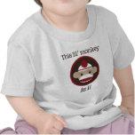 Rojo y mono del calcetín de Brown: Primera camiset Camisetas