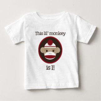 Rojo y mono del calcetín de Brown: Primera Remeras