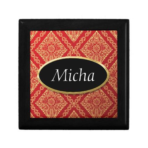 Rojo y monograma del papel pintado floral del vint cajas de regalo