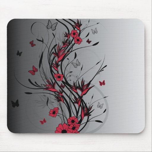 Rojo y Mousepad floral ilustrado negro Alfombrillas De Ratones