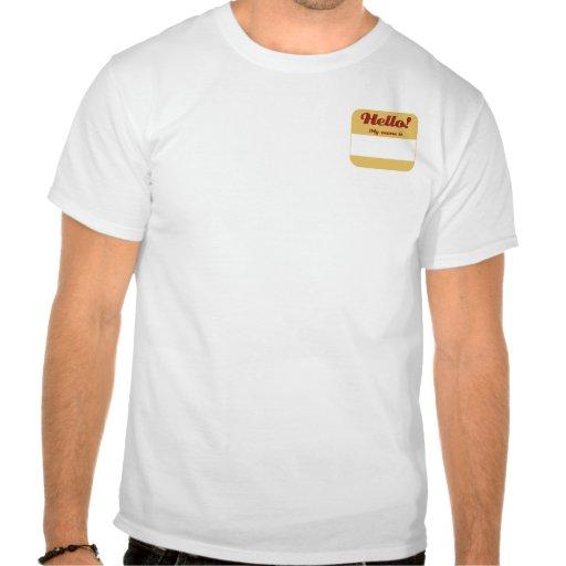 Rojo y Nametag del oro Camisetas