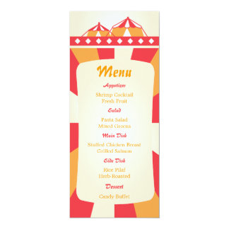 Rojo y naranja del menú de la recepción nupcial invitación 10,1 x 23,5 cm